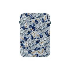 Flower Sapphire and White Diamond Bling Apple iPad Mini Protective Soft Case