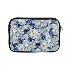 Flower Sapphire and White Diamond Bling Apple iPad Mini Zipper Case