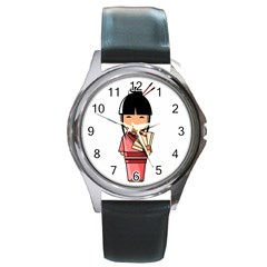 Japanese Geisha Round Metal Watch (silver Rim)