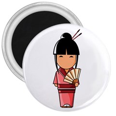 Japanese Geisha 3  Button Magnet