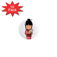 Japanese Geisha 1  Mini Button Magnet (10 pack)
