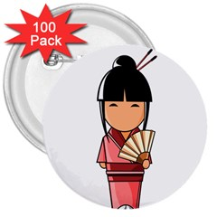 Japanese Geisha 3  Button (100 pack)