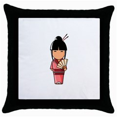 Japanese Geisha Black Throw Pillow Case