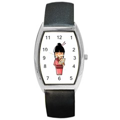 Japanese Geisha Tonneau Leather Watch