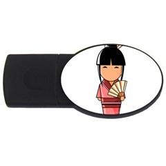Japanese Geisha 4GB USB Flash Drive (Oval)