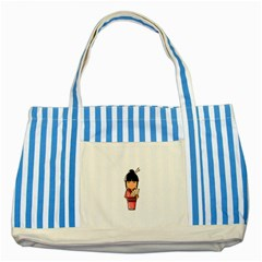 Japanese Geisha Blue Striped Tote Bag
