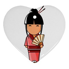 Japanese Geisha Heart Ornament (Two Sides)