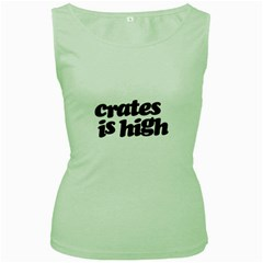 Crates Is High - Black Print Womens  Tank Top (Green)