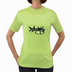 RDLX Handstyle - Black Print Womens  T-shirt (Green)