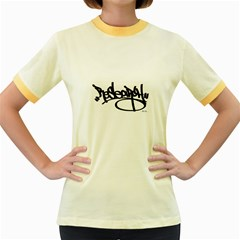 RDLX Handstyle - Black Print Womens  Ringer T-shirt (Colored)