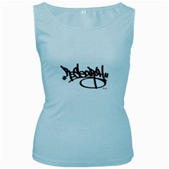 Rdlx Handstyle   Black Print Womens  Tank Top (baby Blue)