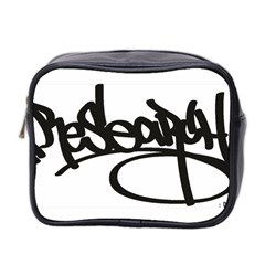 RDLX Handstyle - Black Print Mini Travel Toiletry Bag (Two Sides)