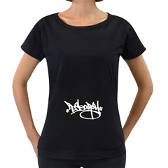Rdlx Handstyle   White Print Womens' Maternity T Shirt (black)