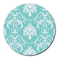Tiffany Blue and White Damask 8  Mouse Pad (Round)