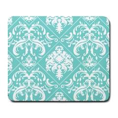 Tiffany Blue and White Damask Large Mouse Pad (Rectangle)
