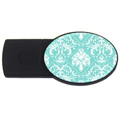 Tiffany Blue and White Damask 2GB USB Flash Drive (Oval)