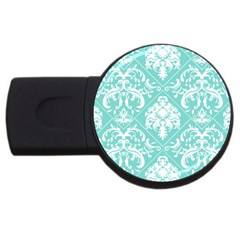 Tiffany Blue and White Damask 4GB USB Flash Drive (Round)