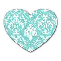 Tiffany Blue And White Damask Mouse Pad (heart)