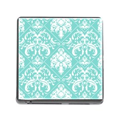 Tiffany Blue and White Damask Memory Card Reader with Storage (Square)