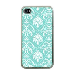 Tiffany Blue And White Damask Apple Iphone 4 Case (clear)