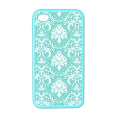 Tiffany Blue and White Damask Apple iPhone 4 Case (Color)