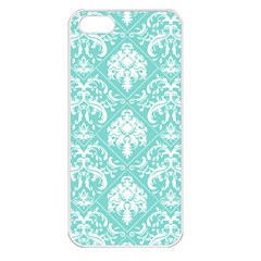 Tiffany Blue And White Damask Apple Iphone 5 Seamless Case (white)