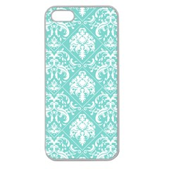 Tiffany Blue and White Damask Apple Seamless iPhone 5 Case (Clear)