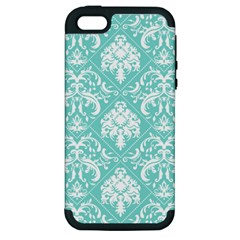 Tiffany Blue and White Damask Apple iPhone 5 Hardshell Case (PC+Silicone)