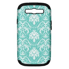 Tiffany Blue and White Damask Samsung Galaxy S III Hardshell Case (PC+Silicone)
