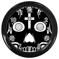 Sugar Skull Wall Clock (black)