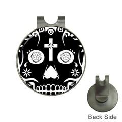 Sugar Skull Hat Clip with Golf Ball Marker