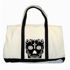 Sugar Skull Two Toned Tote Bag