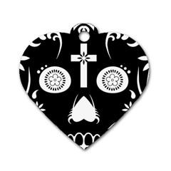 Sugar Skull Dog Tag Heart (One Sided)