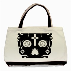 Sugar Skull Twin-sided Black Tote Bag