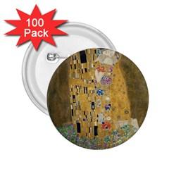 Klimt   The Kiss 2 25  Button (100 Pack)