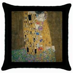 Klimt - The Kiss Black Throw Pillow Case