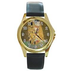 Klimt   The Kiss Round Metal Watch (gold Rim)