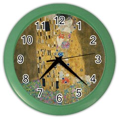 Klimt   The Kiss Wall Clock (color)