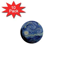 Starry Night 1  Mini Button Magnet (10 Pack)