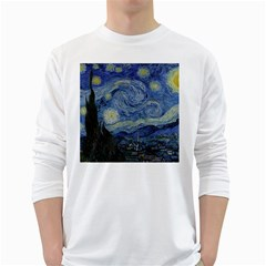 Starry night Mens' Long Sleeve T-shirt (White)