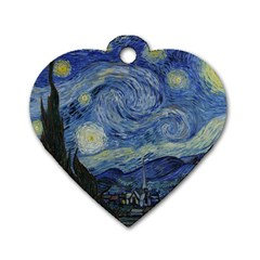 Starry Night Dog Tag Heart (one Sided)