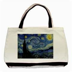 Starry night Twin-sided Black Tote Bag