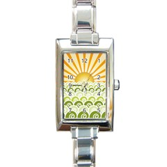 Along The Green Waves Rectangular Italian Charm Watch