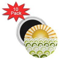 Along The Green Waves 1.75  Button Magnet (10 pack)