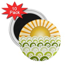 Along The Green Waves 2.25  Button Magnet (10 pack)