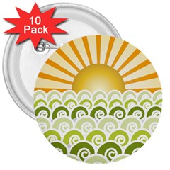 Along The Green Waves 3  Button (10 pack)