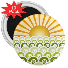 Along The Green Waves 3  Button Magnet (10 pack)