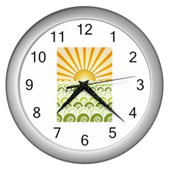 Along The Green Waves Wall Clock (Silver)