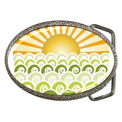 Along The Green Waves Belt Buckle (oval)