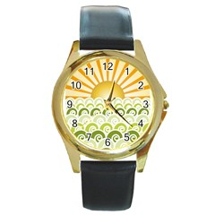 Along The Green Waves Round Metal Watch (gold Rim)